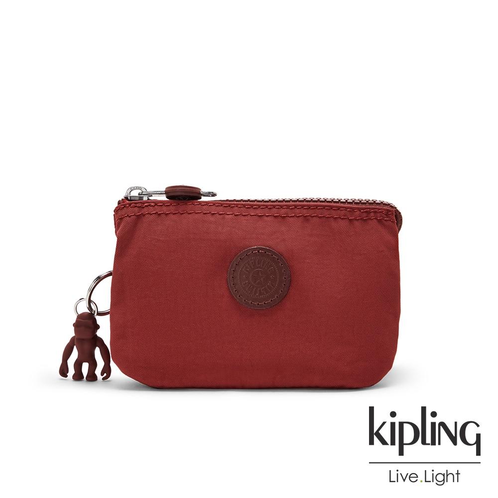 Kipling 微醺感胭脂紅三夾層配件包-CREATIVITY S