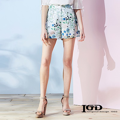 IGD英格麗 花卉荷葉邊短褲-綠色