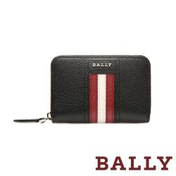 BALLY TIVY 荔枝牛皮條紋零錢包短夾-黑