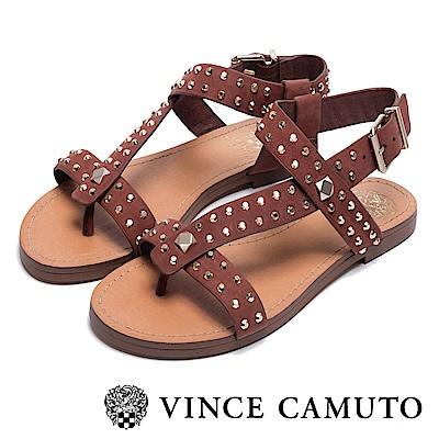 VINCE CAMUTO 經典牛皮鉚釘平底羅馬涼鞋-棕色
