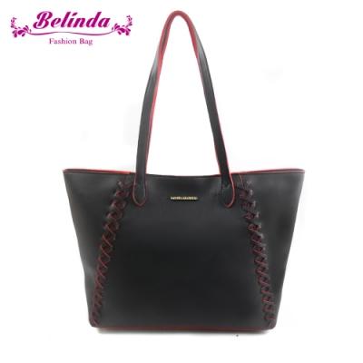 【Belinda】喬安娜素面鎖縫設計手提肩背包(黑色)