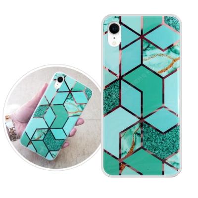 VXTRA 燙金拼接 iPhone XR 6.1吋 大理石幾何手機殼 保護殼(翡翠綠)