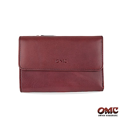 OMC 原皮系列-植鞣牛皮翻蓋壓扣三折零錢中夾-紫色