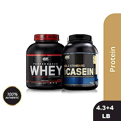 [美國 ON]Performance濃縮乳清蛋白(4.3磅)+酪蛋白4磅