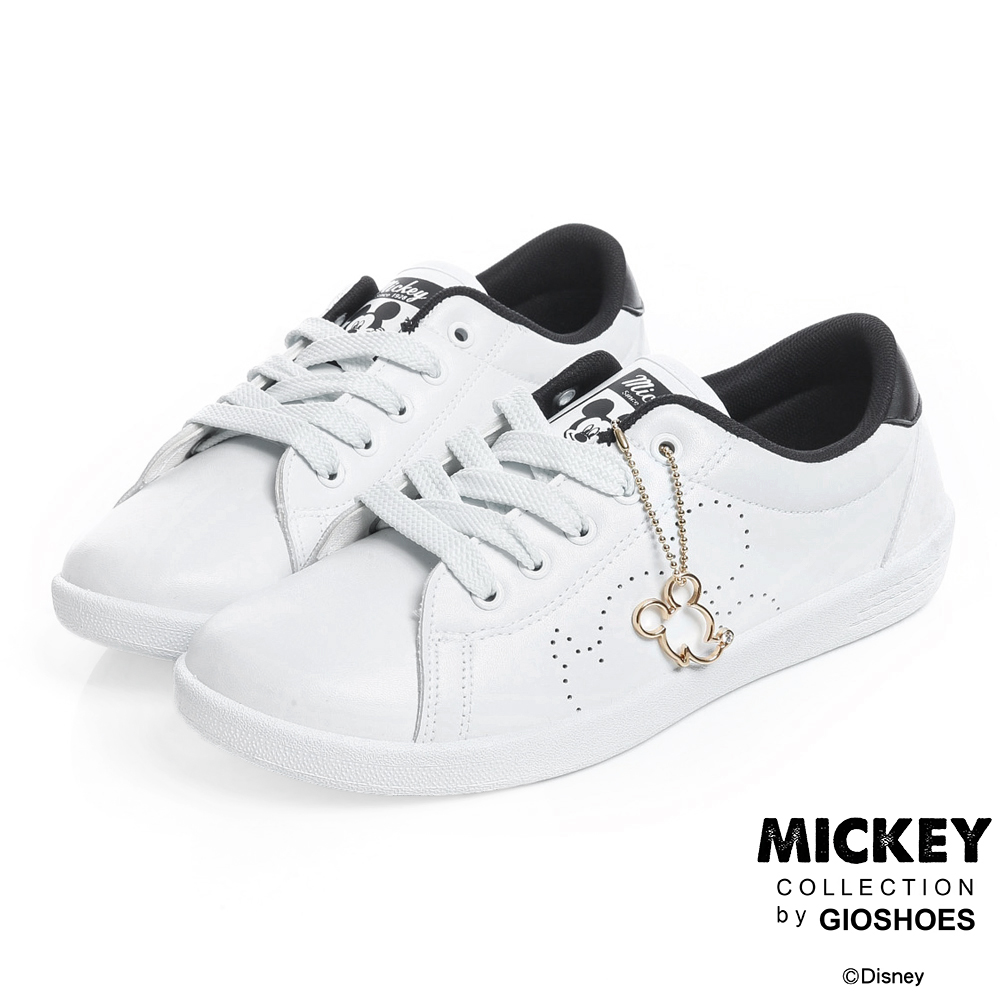 DISNEY 可愛教主 米奇吊飾仿皮休閒鞋-白黑 (女)