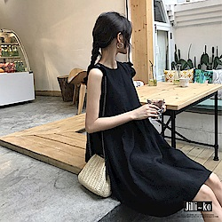 Jilli-ko 法式簡約荷葉肩連身裙- 黑