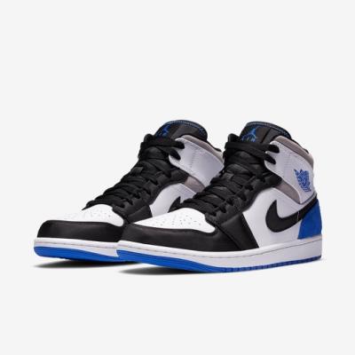 Nike 休閒鞋 Air Jordan 1代 Mid 男鞋 ROYAL 絲綢緞面 喬丹 8孔 黑 白 藍  852542102
