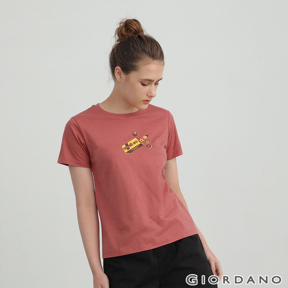 GIORDANO  女裝Smile more印花T恤 - 11 淺紫紅