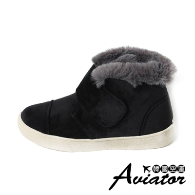 Aviator韓國空運-顯瘦時尚毛毛魔鬼氈雪靴-預購