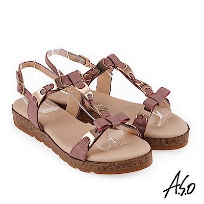 A.S.O 希臘渡假 蝴蝶結鍊飾全真皮羅馬休閒涼鞋 粉紅