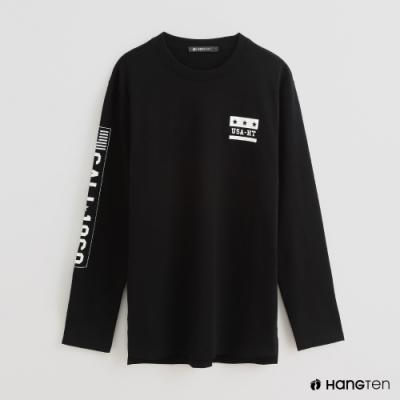 Hang Ten - 男裝 - 個性印花LOGO圓領上衣 - 黑