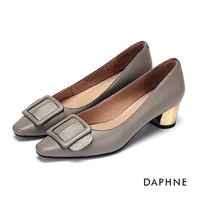 達芙妮DAPHNE 高跟鞋-方釦真皮金屬色高跟鞋-灰