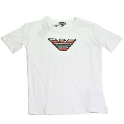 EMPORIO ARMANI 刺繡品牌老鷹LOGO薄棉質短袖女T恤(白/42號)
