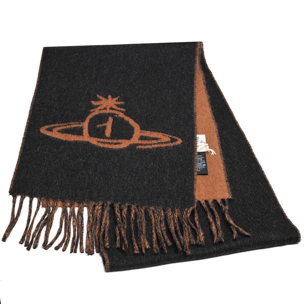 Vivienne Westwood 義大利製行星LOGO雙面撞色配色羊毛圍巾(黑灰/駝色)