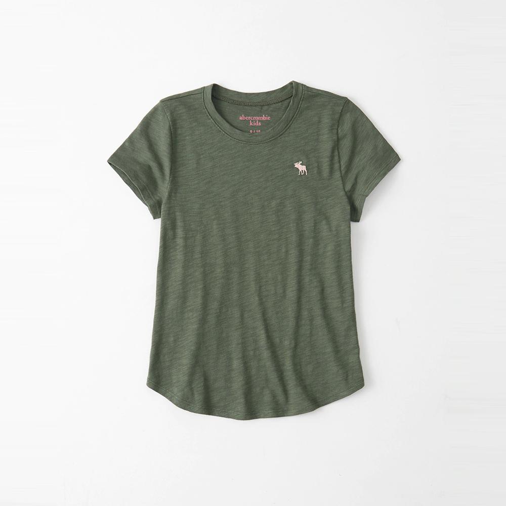 麋鹿 AF A&F 經典麋鹿標誌素面短袖T恤(女青年款)-墨綠色