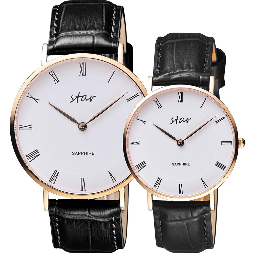 STAR 時代 城市情人羅馬石英對錶-白x玫塊金框/41+36mm
