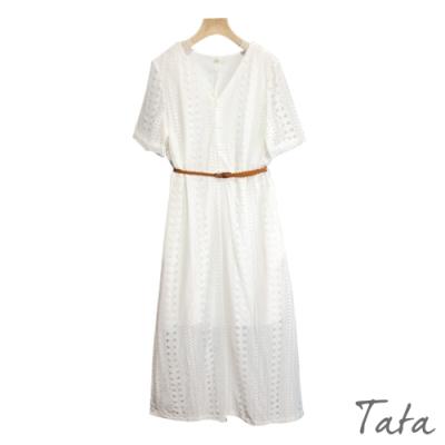 V領排扣蕾絲洋裝(附綁帶) 共二色 TATA-F