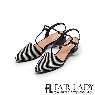 Fair Lady Hi Sporing 法式繞帶尖頭低跟涼鞋 黑條紋