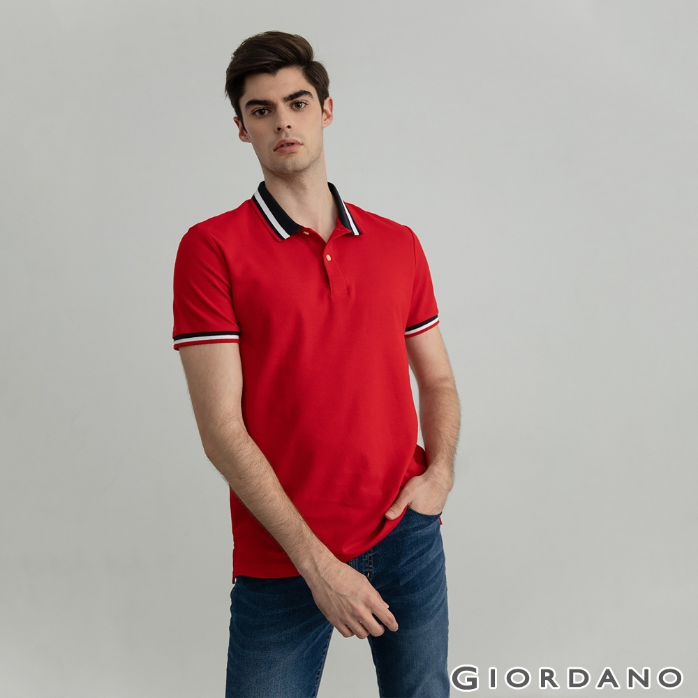 GIORDANO 男裝素色線條POLO衫 - 22 高貴紅