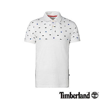 Timberland 男款白色刺繡防紫外線短袖POLO衫|A1XDE