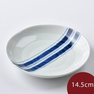 日本康創陶 和食器 前菜碟 藍中央 14.5cm