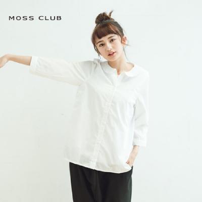 【MOSS CLUB】襯衫領內拼接圓領假兩件式-襯衫(藍色)