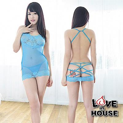 愛愛屋 後綁帶超低胸修身誘惑睡衣 藍色