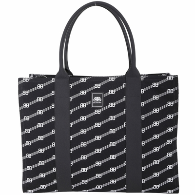 BALENCIAGA Trade 大款 BB字母帆布手提/肩背托特包(黑色)