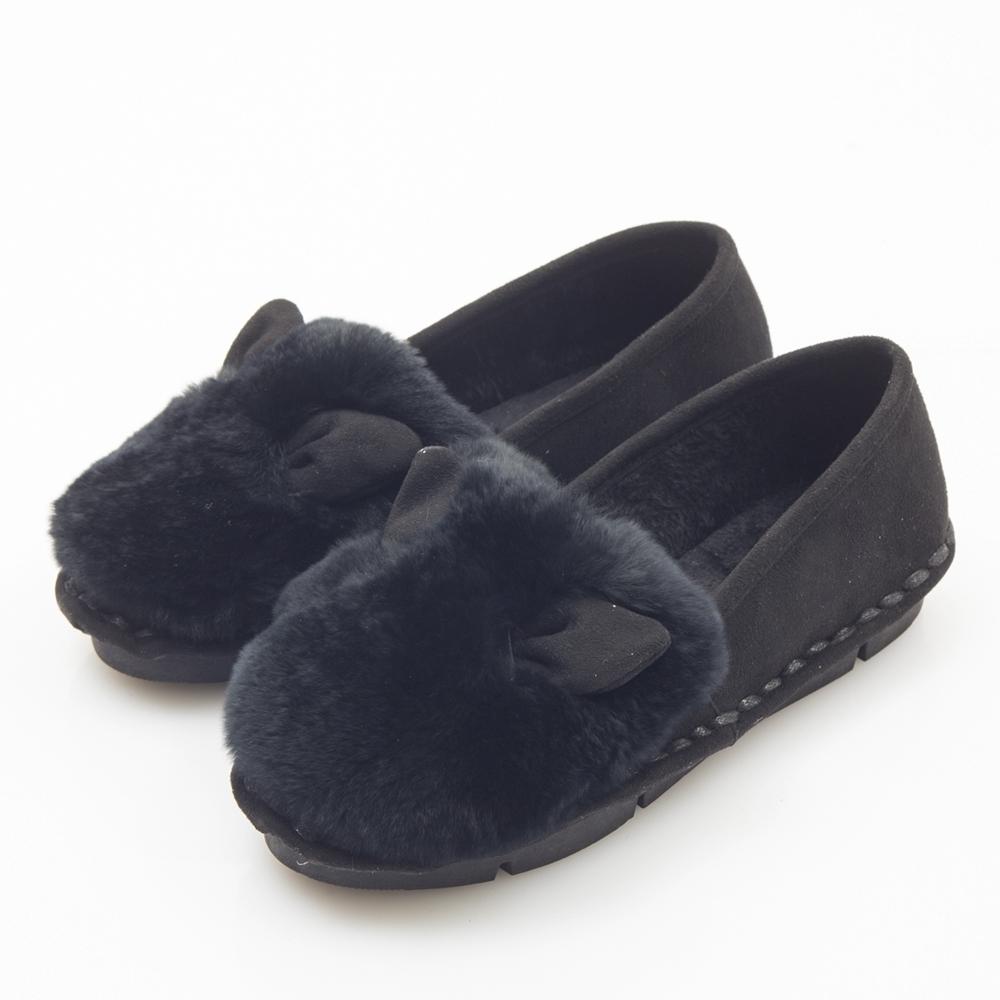 JMS-韓版秋冬俏皮可愛Q毛貓耳娃娃鞋-黑色