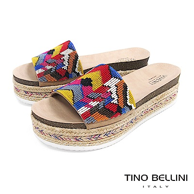 Tino Bellini 巴西進口異國風情繽紛珠飾麻編厚底涼拖鞋 _ 幾何