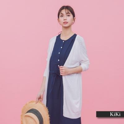 【KiKi】休閒長版罩衫-針織衫(三色)
