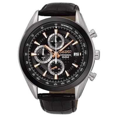 SEIKO精工   辰宇雋詠三眼計時視距儀石英腕錶(SSB183P1)-黑x44.5mm