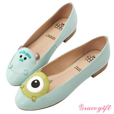 Disney collection by Grace gift-拼接電繡娃娃平底鞋 藍綠