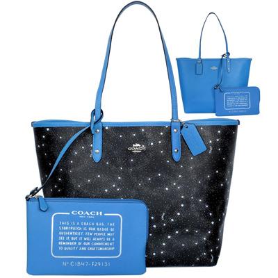 COACH黑色繁星圖印雙面使用大款肩背購物托特包