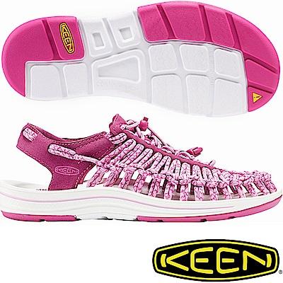 KEEN 1016894暗紅/粉 Uneek 女專業戶外護趾編織涼鞋