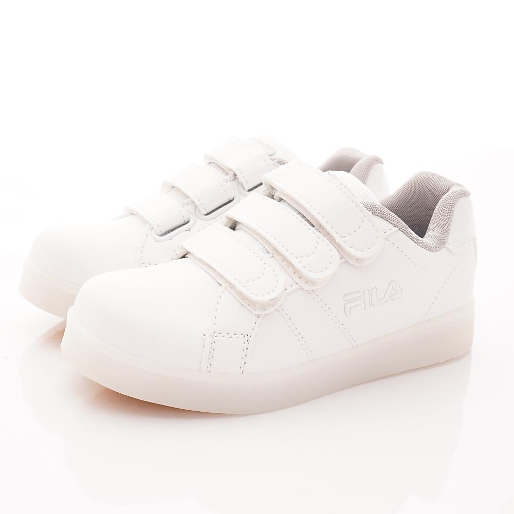 FILA頂級童鞋 電燈板鞋款 FO09T-111白(中大童段)