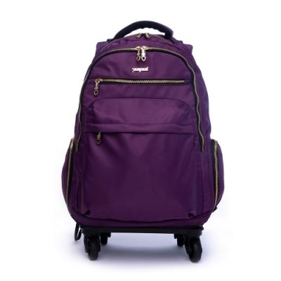 DF Queenin流行 - 商務洽公18吋旅行多功能防潑水拉桿登機行李包-共3色