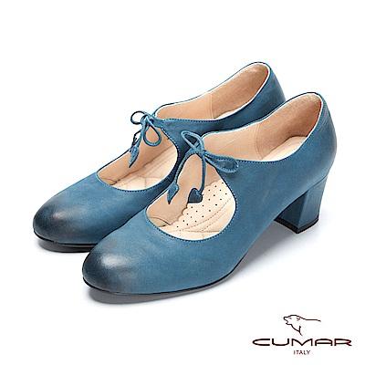 【CUMAR】復古典雅-擦色微尖頭粗跟瑪莉珍高跟鞋