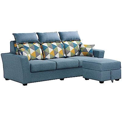 文創集 沙里多L型獨立筒沙發(三人座+椅凳+二色)-215x136x103cm免組