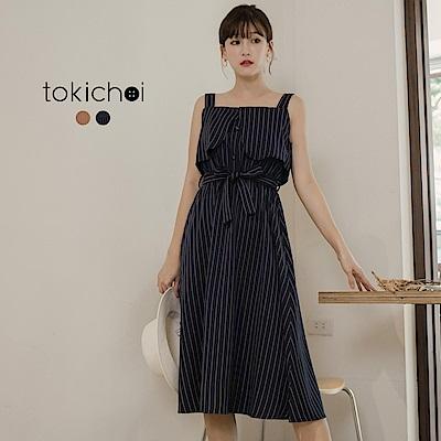 東京著衣 氣質女孩百搭綁帶條紋洋裝-S.M(共二色)