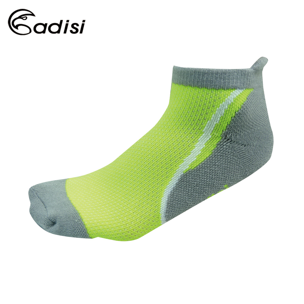 ADISI 螢光運動慢跑襪AS15206 螢光黃/灰色