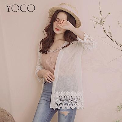 東京著衣-YOCO  女神氣息透膚拼接雕花蕾絲開襟罩衫-S.M.L