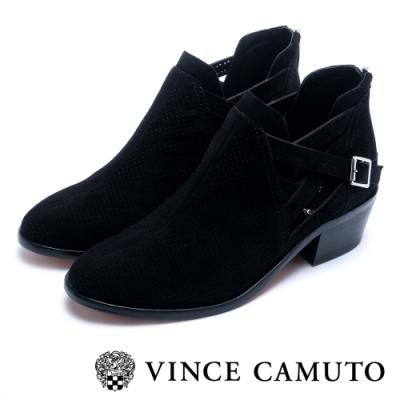 VINCE CAMUTO 側V字麂皮簍空交叉扣帶粗跟踝靴-絨黑