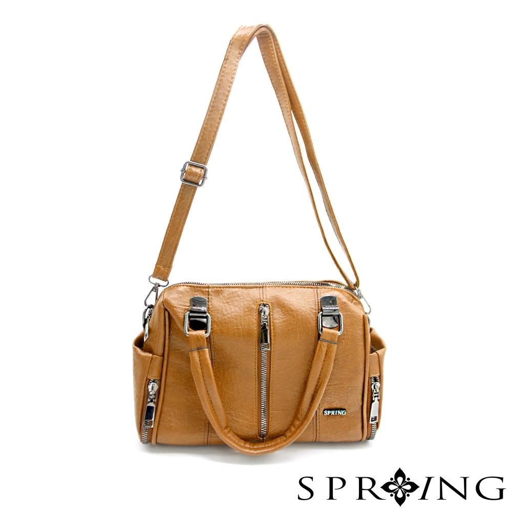 SPRING - 個性大拉鍊皮革手提包 -雅致棕