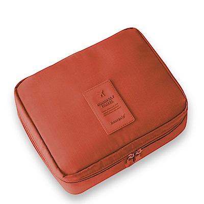 旅遊首選 多隔層防潑水 盥洗包 化妝包 收納包 旅行包 隨身包 洗漱包(橘色)