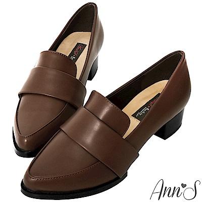 Ann'S時髦復古-韓系粗跟紳士休閒便鞋-復古棕