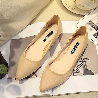 韓國KW美鞋館 破盤價簡約平底鞋-卡其色