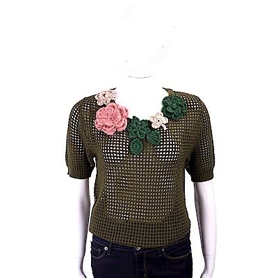BOUTIQUE MOSCHINO 立體織花墨綠色網狀羊毛衫