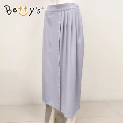 betty's貝蒂思 壓褶雪紡寬版褲裙(淺灰)