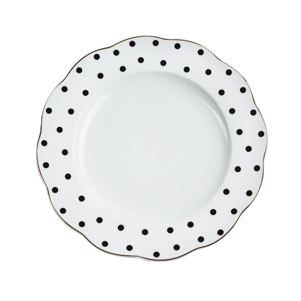 Caldo卡朵生活 黑白普普風復古描金早餐盤22cm